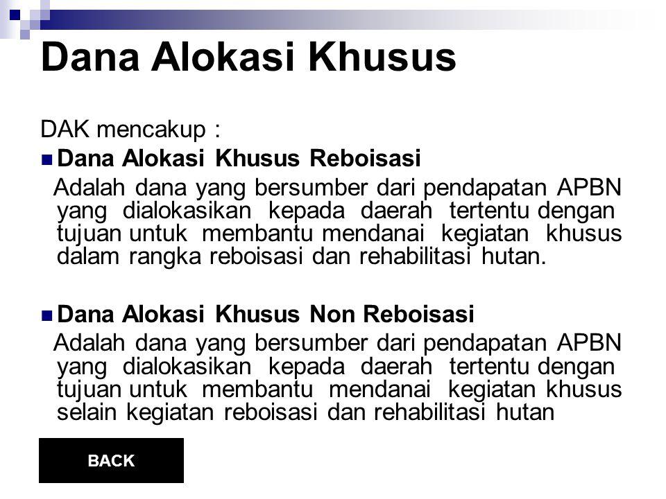 Dana Alokasi Khusus DAK mencakup : Dana Alokasi Khusus Reboisasi Adalah dana yang bersumber dari pendapatan APBN yang dialokasikan kepada daerah terte