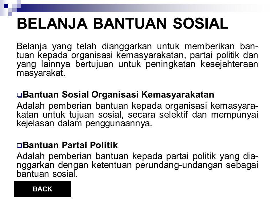 BELANJA BANTUAN SOSIAL Belanja yang telah dianggarkan untuk memberikan ban- tuan kepada organisasi kemasyarakatan, partai politik dan yang lainnya bertujuan untuk peningkatan kesejahteraan masyarakat.