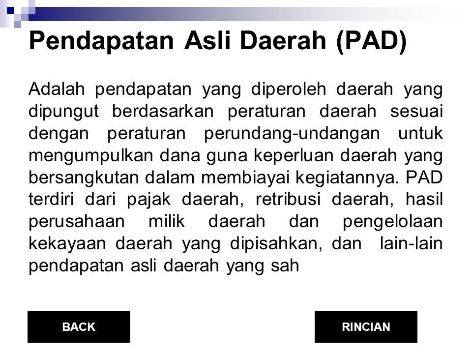 Pendapatan Asli Daerah (PAD) Adalah pendapatan yang diperoleh daerah yang dipungut berdasarkan peraturan daerah sesuai dengan peraturan perundang-unda