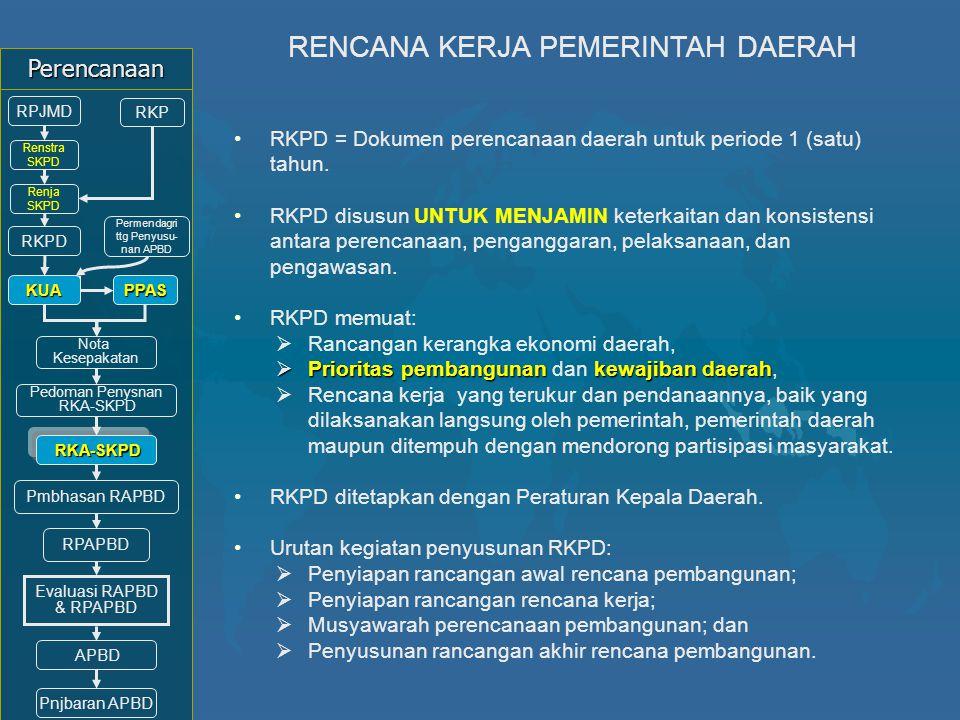 RKPD = Dokumen perencanaan daerah untuk periode 1 (satu) tahun. RKPD disusun UNTUK MENJAMIN keterkaitan dan konsistensi antara perencanaan, penganggar