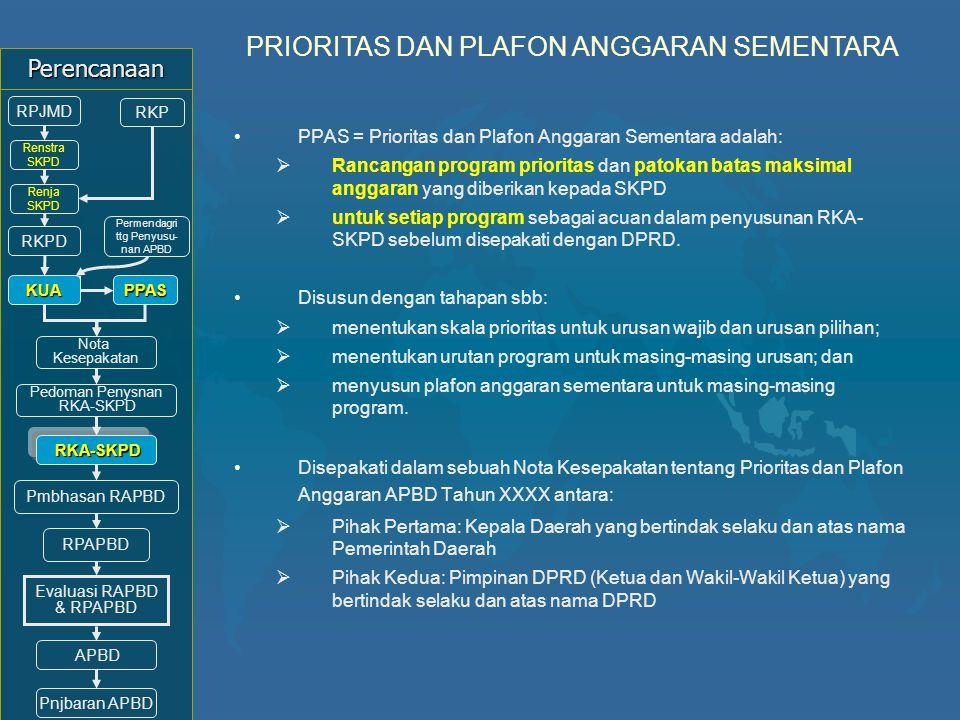 PPAS = Prioritas dan Plafon Anggaran Sementara adalah:  Rancangan program prioritas dan patokan batas maksimal anggaran yang diberikan kepada SKPD 