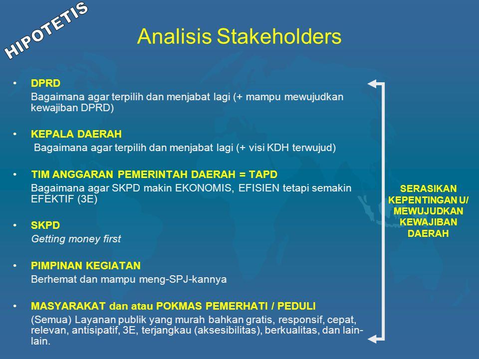 Analisis Stakeholders DPRD Bagaimana agar terpilih dan menjabat lagi (+ mampu mewujudkan kewajiban DPRD) KEPALA DAERAH Bagaimana agar terpilih dan men