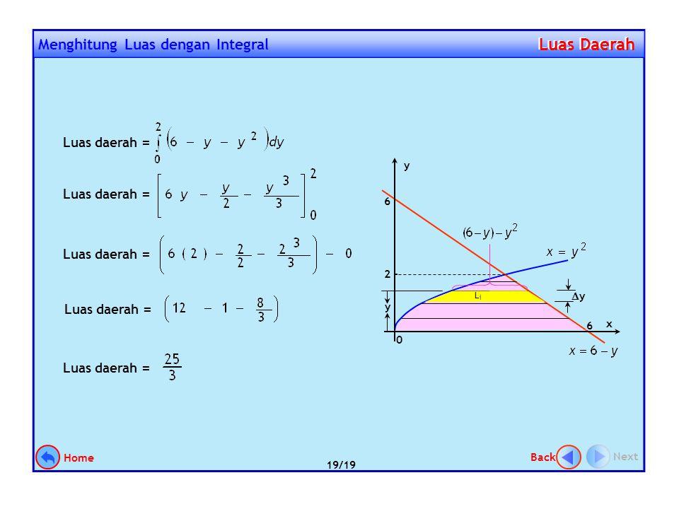 Hitunglah luas daerah yang dibatasi kurva y 2 = x, garis x + y = 6, dan sumbu x Contoh 6. Langkah penyelesaian: 1.Gambar daerahnya 2.Tentukan titik po