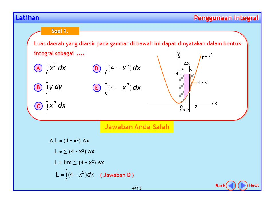 Latihan Penggunaan Integral Penggunaan Integral Luas daerah yang diarsir pada gambar di bawah ini dapat dinyatakan dalam bentuk integral sebagai.... S