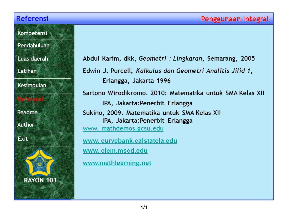 Referensi Penggunaan Integral Penggunaan Integral Abdul Karim, dkk, Geometri : Lingkaran, Semarang, 2005 Edwin J.