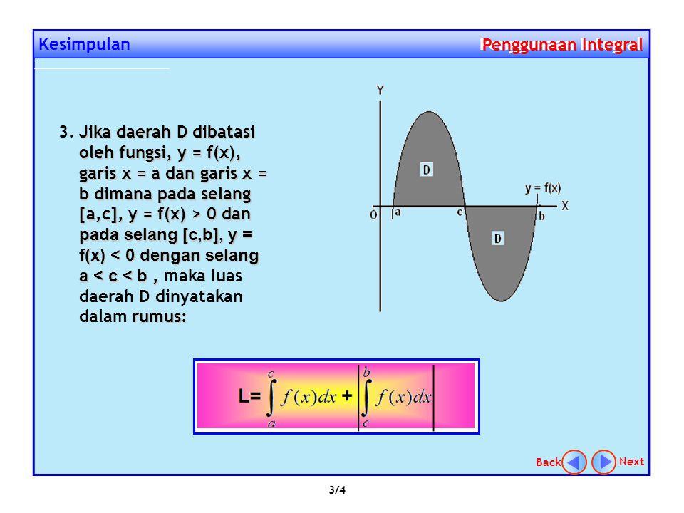 Kesimpulan Penggunaan Integral Penggunaan Integral Jika daerah D dibatasi oleh fungsi, y 1 = f(x), garis x = a dan garis x = b dimana pada selang [a,b