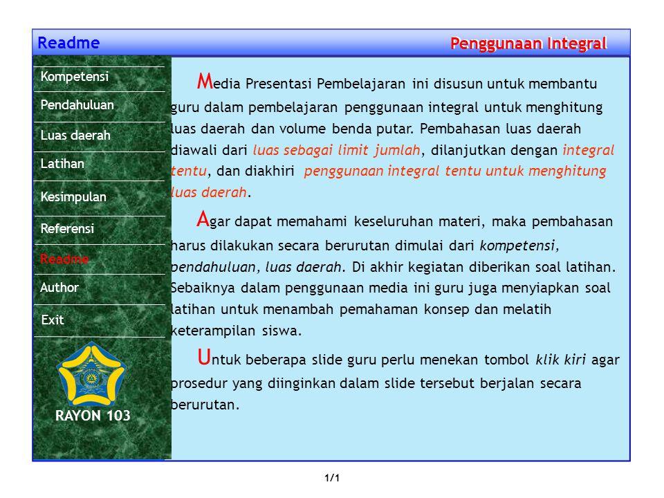 Referensi Penggunaan Integral Penggunaan Integral Abdul Karim, dkk, Geometri : Lingkaran, Semarang, 2005 Edwin J. Purcell, Kalkulus dan Geometri Anali