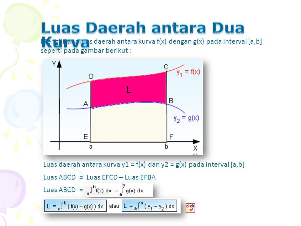 Menghitung luas daerah antara kurva f(x) dengan g(x) pada interval [a,b] seperti pada gambar berikut :