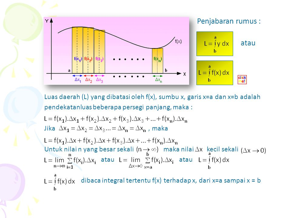 Perhatikan luas daerah yang dibatasi kurva y= f(x), sumbu x, garis x = a dan x = b pada gambar di samping atau Penjabaran rumus :