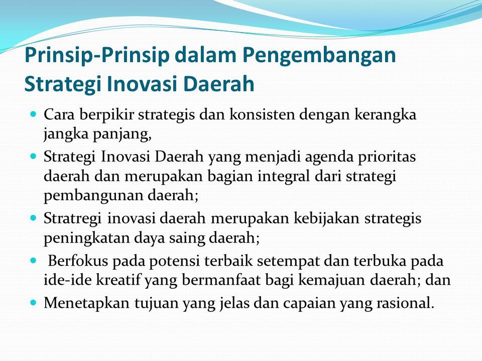 Prinsip-Prinsip dalam Pengembangan Strategi Inovasi Daerah Cara berpikir strategis dan konsisten dengan kerangka jangka panjang, Strategi Inovasi Daerah yang menjadi agenda prioritas daerah dan merupakan bagian integral dari strategi pembangunan daerah; Stratregi inovasi daerah merupakan kebijakan strategis peningkatan daya saing daerah; Berfokus pada potensi terbaik setempat dan terbuka pada ide-ide kreatif yang bermanfaat bagi kemajuan daerah; dan Menetapkan tujuan yang jelas dan capaian yang rasional.