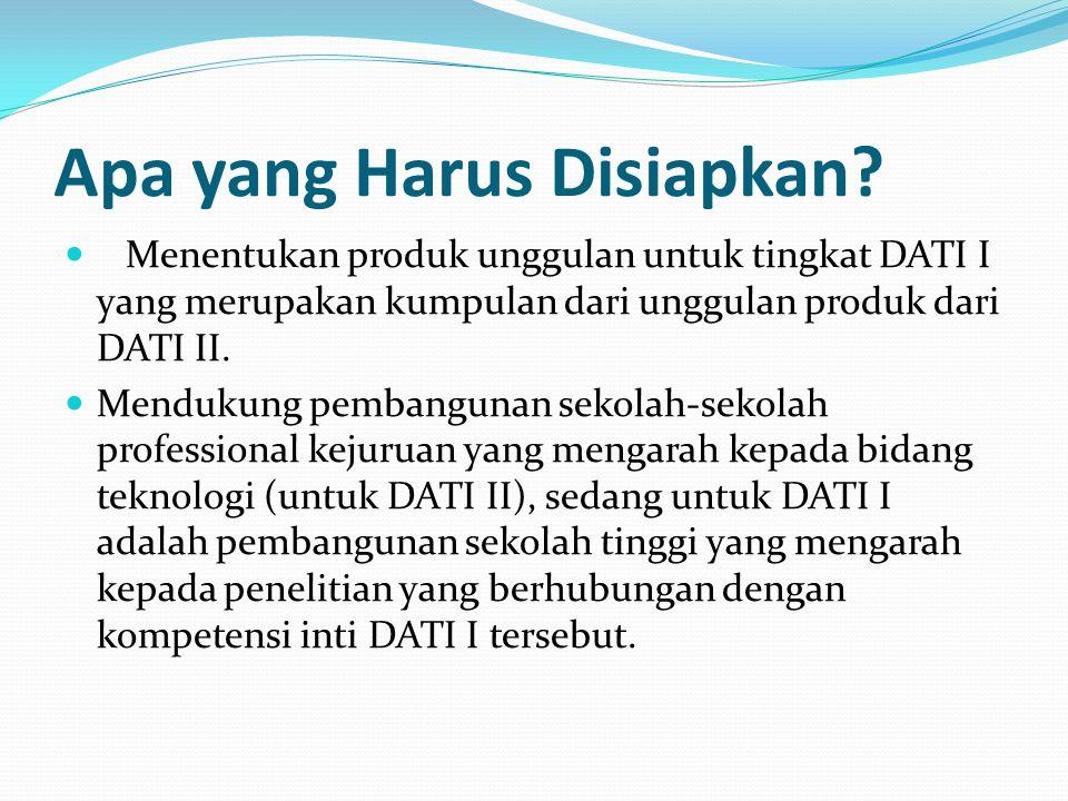 Apa yang Harus Disiapkan? Menentukan produk unggulan untuk tingkat DATI I yang merupakan kumpulan dari unggulan produk dari DATI II. Mendukung pembang