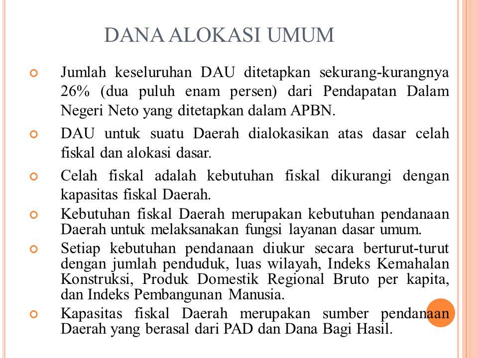 DANA ALOKASI UMUM Jumlah keseluruhan DAU ditetapkan sekurang-kurangnya 26% (dua puluh enam persen) dari Pendapatan Dalam Negeri Neto yang ditetapkan dalam APBN.