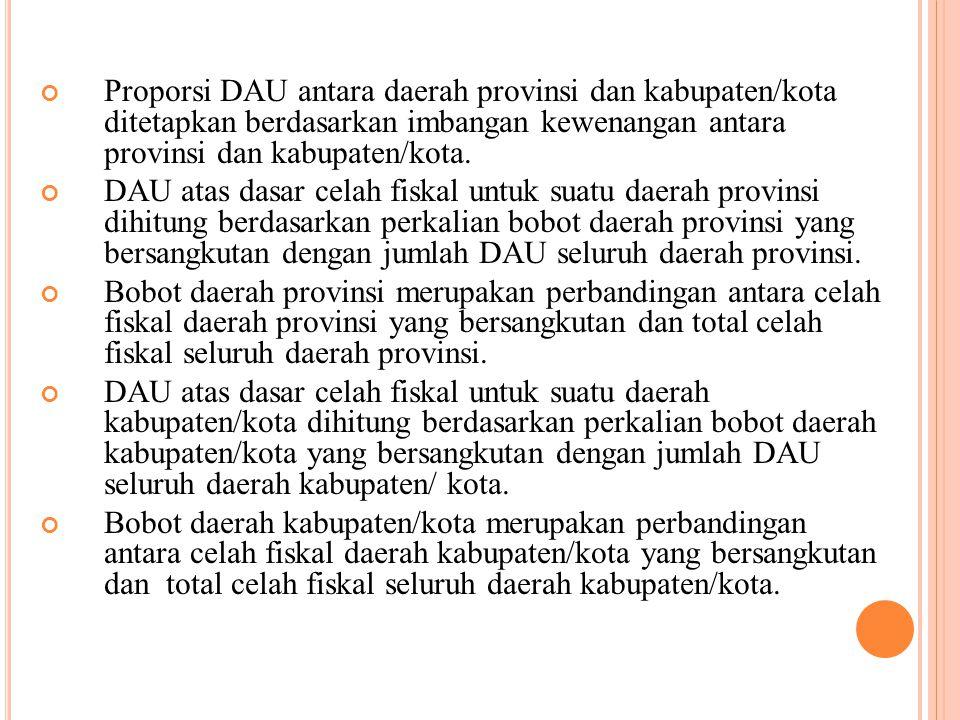 Proporsi DAU antara daerah provinsi dan kabupaten/kota ditetapkan berdasarkan imbangan kewenangan antara provinsi dan kabupaten/kota. DAU atas dasar c