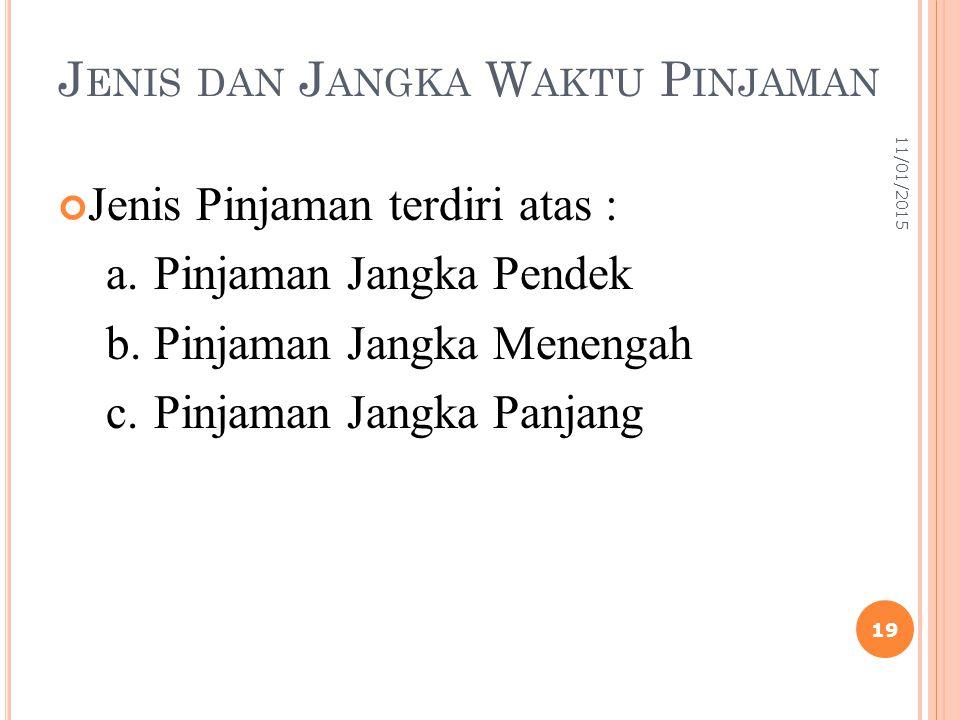J ENIS DAN J ANGKA W AKTU P INJAMAN Jenis Pinjaman terdiri atas : a.Pinjaman Jangka Pendek b.Pinjaman Jangka Menengah c.Pinjaman Jangka Panjang 11/01/2015 19