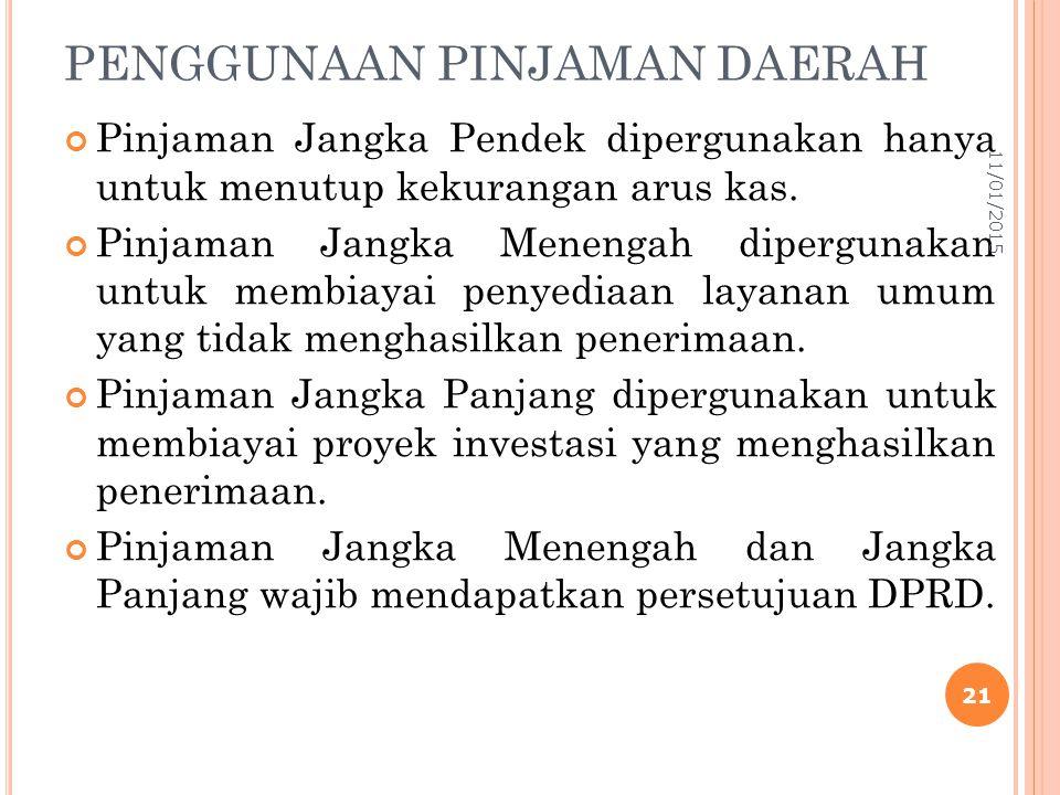 PENGGUNAAN PINJAMAN DAERAH Pinjaman Jangka Pendek dipergunakan hanya untuk menutup kekurangan arus kas.