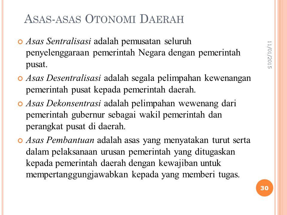 A SAS - ASAS O TONOMI D AERAH Asas Sentralisasi adalah pemusatan seluruh penyelenggaraan pemerintah Negara dengan pemerintah pusat. Asas Desentralisas