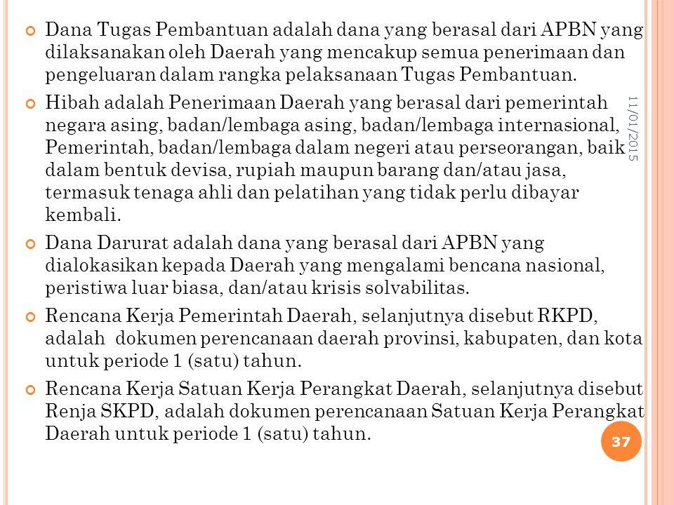 Dana Tugas Pembantuan adalah dana yang berasal dari APBN yang dilaksanakan oleh Daerah yang mencakup semua penerimaan dan pengeluaran dalam rangka pelaksanaan Tugas Pembantuan.