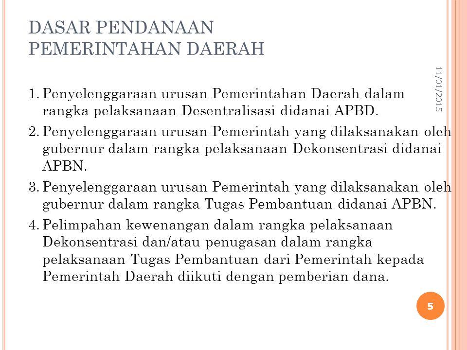 DASAR PENDANAAN PEMERINTAHAN DAERAH 1.Penyelenggaraan urusan Pemerintahan Daerah dalam rangka pelaksanaan Desentralisasi didanai APBD. 2.Penyelenggara