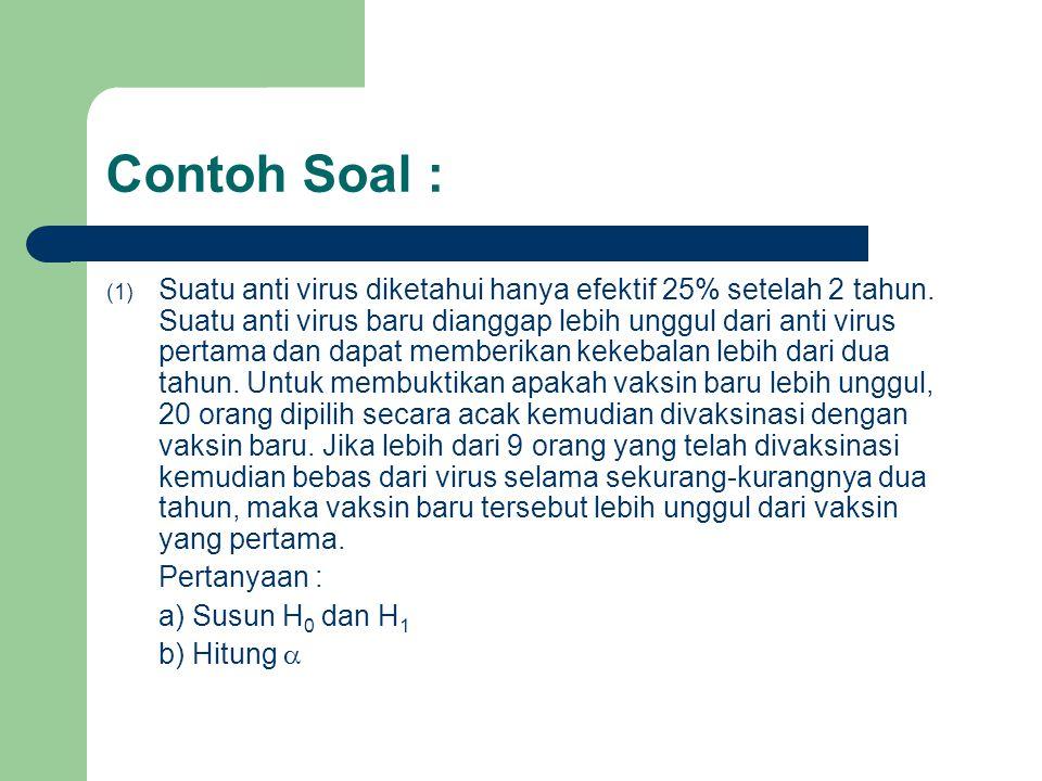 Contoh Soal : (1) Suatu anti virus diketahui hanya efektif 25% setelah 2 tahun. Suatu anti virus baru dianggap lebih unggul dari anti virus pertama da