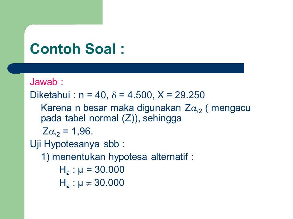 Contoh Soal : Jawab : Diketahui : n = 40,  = 4.500, X = 29.250 Karena n besar maka digunakan Z  /2 ( mengacu pada tabel normal (Z)), sehingga Z  /2 = 1,96.