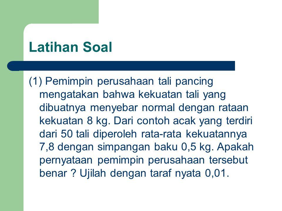 Latihan Soal (1) Pemimpin perusahaan tali pancing mengatakan bahwa kekuatan tali yang dibuatnya menyebar normal dengan rataan kekuatan 8 kg. Dari cont