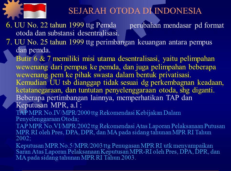 6.UU No. 22 tahun 1999 ttg Pemda perubahan mendasar pd format otoda dan substansi desentralisasi.