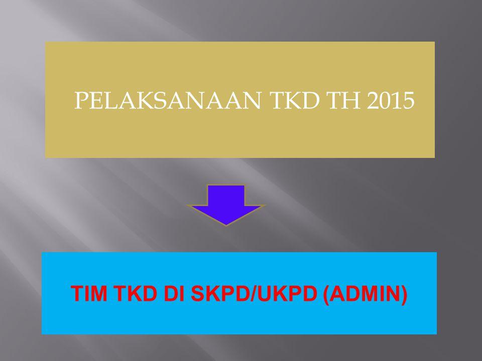 PELAKSANAAN TKD TH 2015 TIM TKD DI SKPD/UKPD (ADMIN)