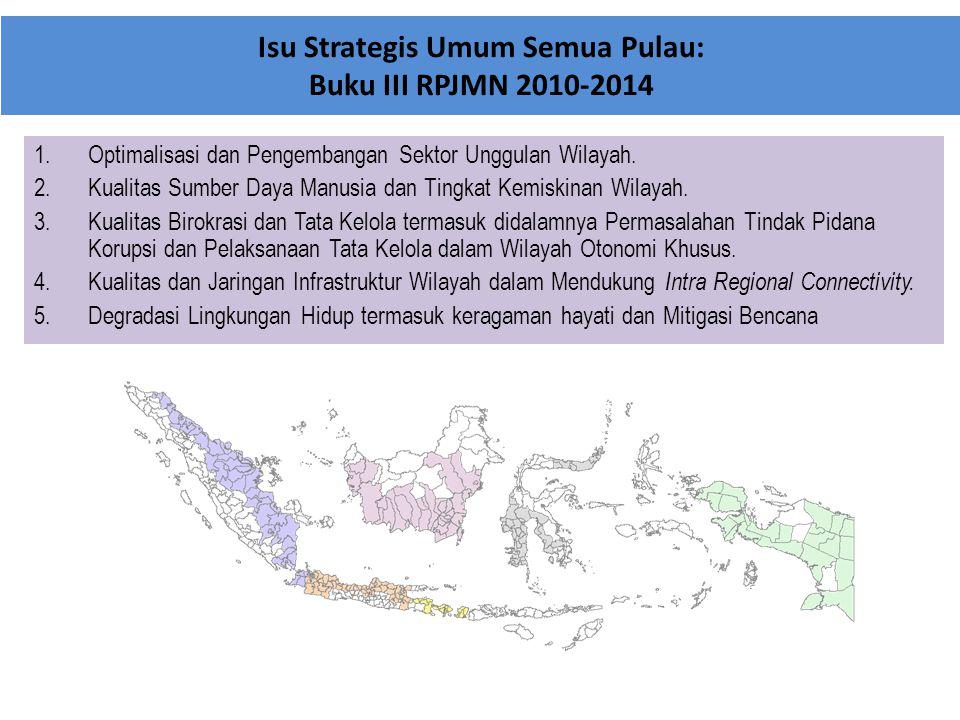 Isu Strategis Umum Semua Pulau: Buku III RPJMN 2010-2014 1.Optimalisasi dan Pengembangan Sektor Unggulan Wilayah. 2.Kualitas Sumber Daya Manusia dan T