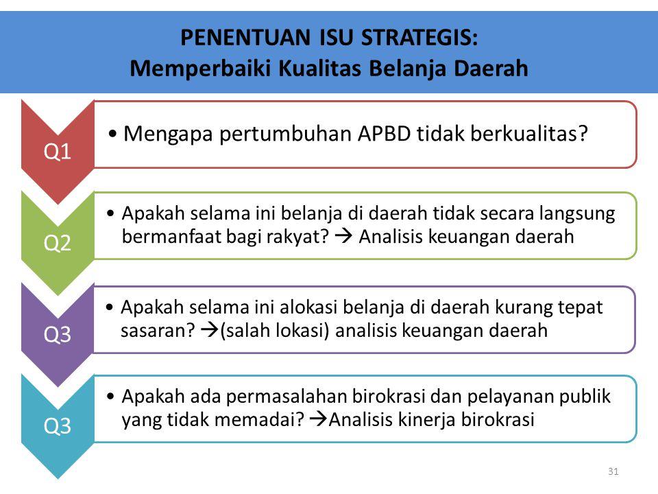 PENENTUAN ISU STRATEGIS: Memperbaiki Kualitas Belanja Daerah 31 Q1 Mengapa pertumbuhan APBD tidak berkualitas? Q2 Apakah selama ini belanja di daerah