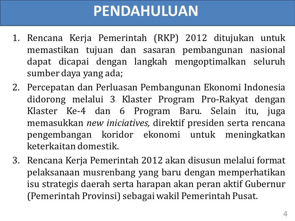 PENDAHULUAN 1.Rencana Kerja Pemerintah (RKP) 2012 ditujukan untuk memastikan tujuan dan sasaran pembangunan nasional dapat dicapai dengan langkah meng