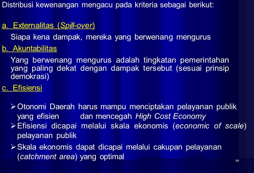 14 Distribusi kewenangan mengacu pada kriteria sebagai berikut: a. Externalitas (Spill-over) Siapa kena dampak, mereka yang berwenang mengurus b. Akun