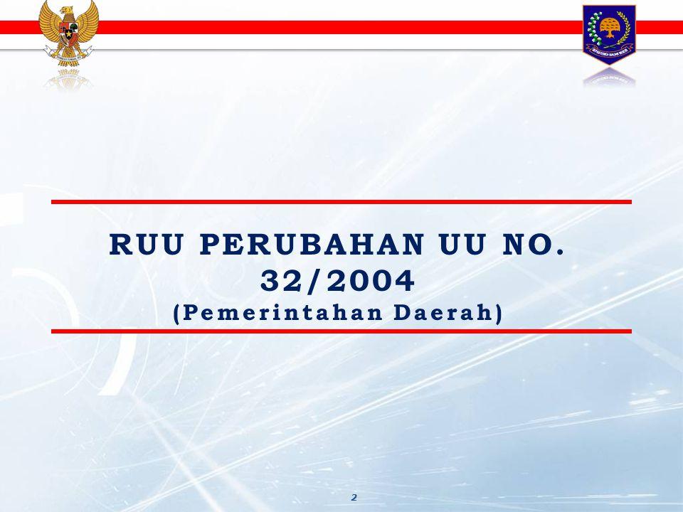 ISU-ISU KRUSIAL RUU PERUBAHAN UU 32/2004 1.PEMBENTUKAN DAERAH OTONOM 2.PEMBAGIAN URUSAN PEM 3.DAERAH BERCIRI KEPULAUAN 4.PEMILIHAN KEPALA DAERAH 5.PERAN GUBERNUR SEBAGAI WAKIL PUSAT 6.MUSPIDA 7.PERANGKAT DAERAH 8.KECAMATAN 9.APARATUR DAERAH 10.PERATURAN DAERAH (PERDA) 11.PEMBANGUNAN DAERAH 12.KEUANGAN DAERAH 13.PELAYANAN PUBLIK 14.PARTISIPASI MASYARAKAT 15.KAWASAN PERKOTAAN 16.KAWASAN KHUSUS 17.KERJASAMA ANTAR DAERAH 18.DESA 19.BINWAS 20.TINDAKAN HUKUM THD APARATUR PEMDA 21.INOVASI DAERAH 22.DPOD 3 1.PEMBENTUKAN DAERAH OTONOM 2.PEMBAGIAN URUSAN PEMERINTAHAN 3.PERAN GANDA GUBERNUR 4.APARATUR DAERAH 5.TINDAKAN HUKUM TERHADAP APARATUR PEMDA 6.BINWAS ISU-ISU STRATEGIS RUU PERUBAHAN UU 32/2004 Catatan:Pilkada & Desa dlm RUU tersendiri