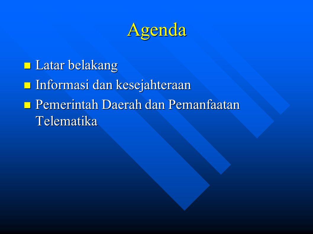 Agenda Latar belakang Latar belakang Informasi dan kesejahteraan Informasi dan kesejahteraan Pemerintah Daerah dan Pemanfaatan Telematika Pemerintah Daerah dan Pemanfaatan Telematika
