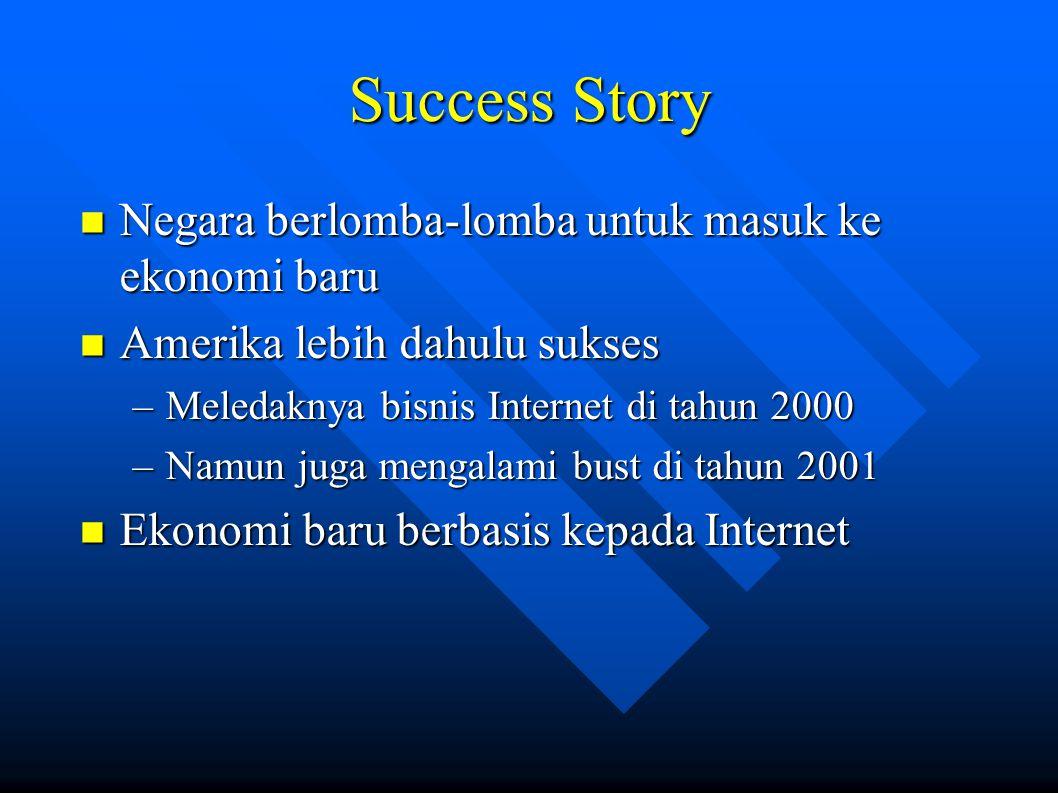 Success Story Negara berlomba-lomba untuk masuk ke ekonomi baru Negara berlomba-lomba untuk masuk ke ekonomi baru Amerika lebih dahulu sukses Amerika lebih dahulu sukses –Meledaknya bisnis Internet di tahun 2000 –Namun juga mengalami bust di tahun 2001 Ekonomi baru berbasis kepada Internet Ekonomi baru berbasis kepada Internet