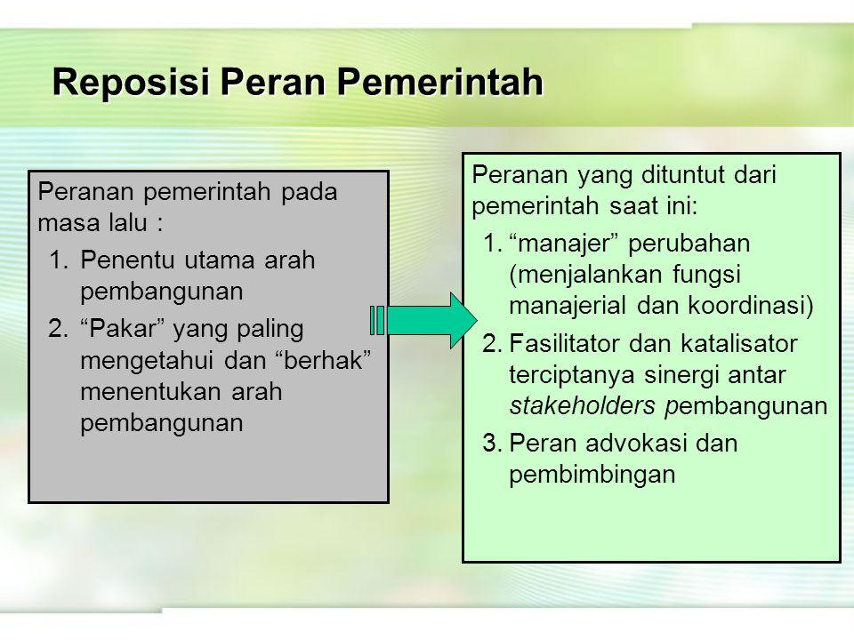 """Reposisi Peran Pemerintah Peranan pemerintah pada masa lalu : 1.Penentu utama arah pembangunan 2.""""Pakar"""" yang paling mengetahui dan """"berhak"""" menentuka"""