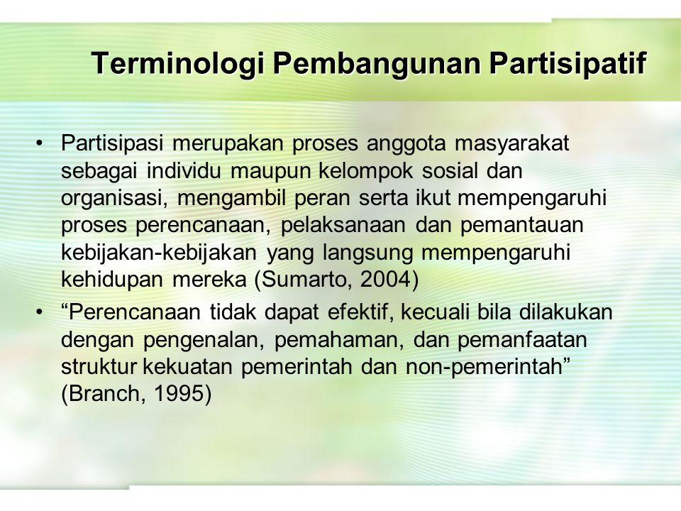 Terminologi Pembangunan Partisipatif Partisipasi merupakan proses anggota masyarakat sebagai individu maupun kelompok sosial dan organisasi, mengambil