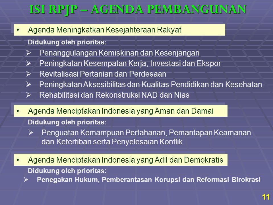 11 Agenda Meningkatkan Kesejahteraan Rakyat  Penanggulangan Kemiskinan dan Kesenjangan  Peningkatan Kesempatan Kerja, Investasi dan Ekspor  Revital
