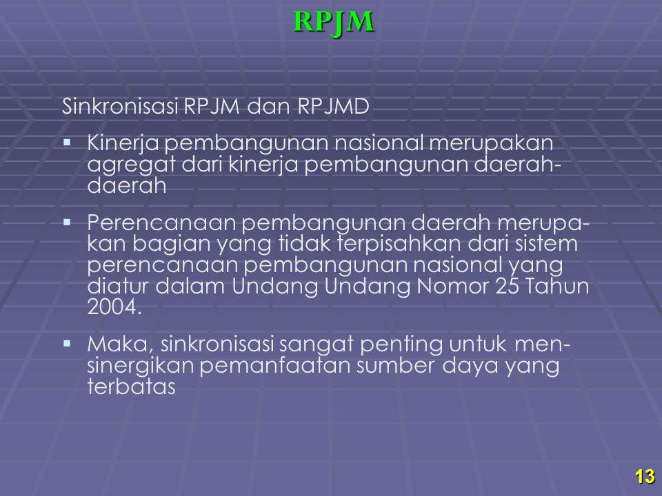 13 Sinkronisasi RPJM dan RPJMD   Kinerja pembangunan nasional merupakan agregat dari kinerja pembangunan daerah- daerah   Perencanaan pembangunan