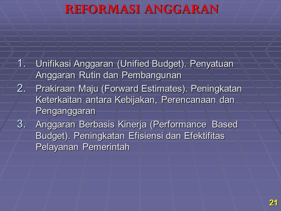 21 1. Unifikasi Anggaran (Unified Budget). Penyatuan Anggaran Rutin dan Pembangunan 2. Prakiraan Maju (Forward Estimates). Peningkatan Keterkaitan ant
