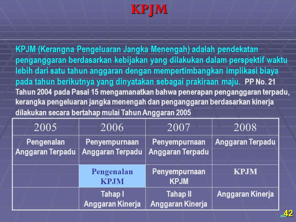 Back KPJM (Kerangna Pengeluaran Jangka Menengah) adalah pendekatan penganggaran berdasarkan kebijakan yang dilakukan dalam perspektif waktu lebih dari