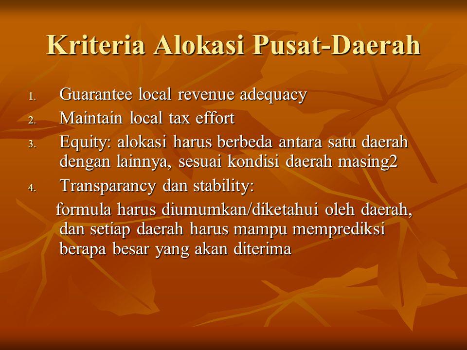 Kriteria Alokasi Pusat-Daerah 1. Guarantee local revenue adequacy 2. Maintain local tax effort 3. Equity: alokasi harus berbeda antara satu daerah den