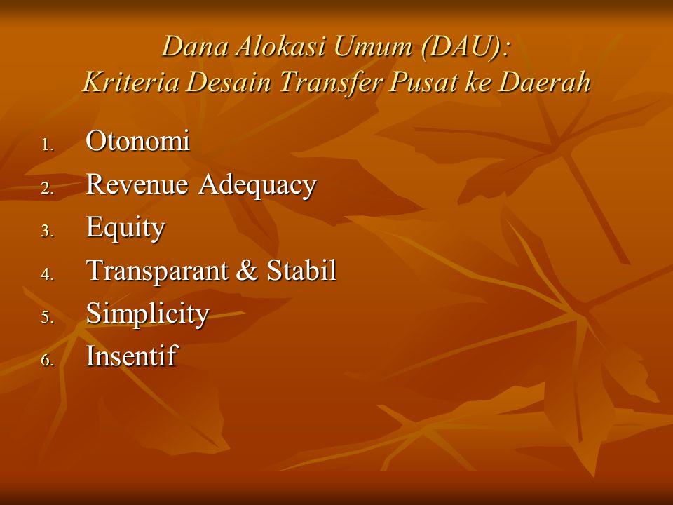 Dana Alokasi Umum (DAU): Kriteria Desain Transfer Pusat ke Daerah 1. Otonomi 2. Revenue Adequacy 3. Equity 4. Transparant & Stabil 5. Simplicity 6. In