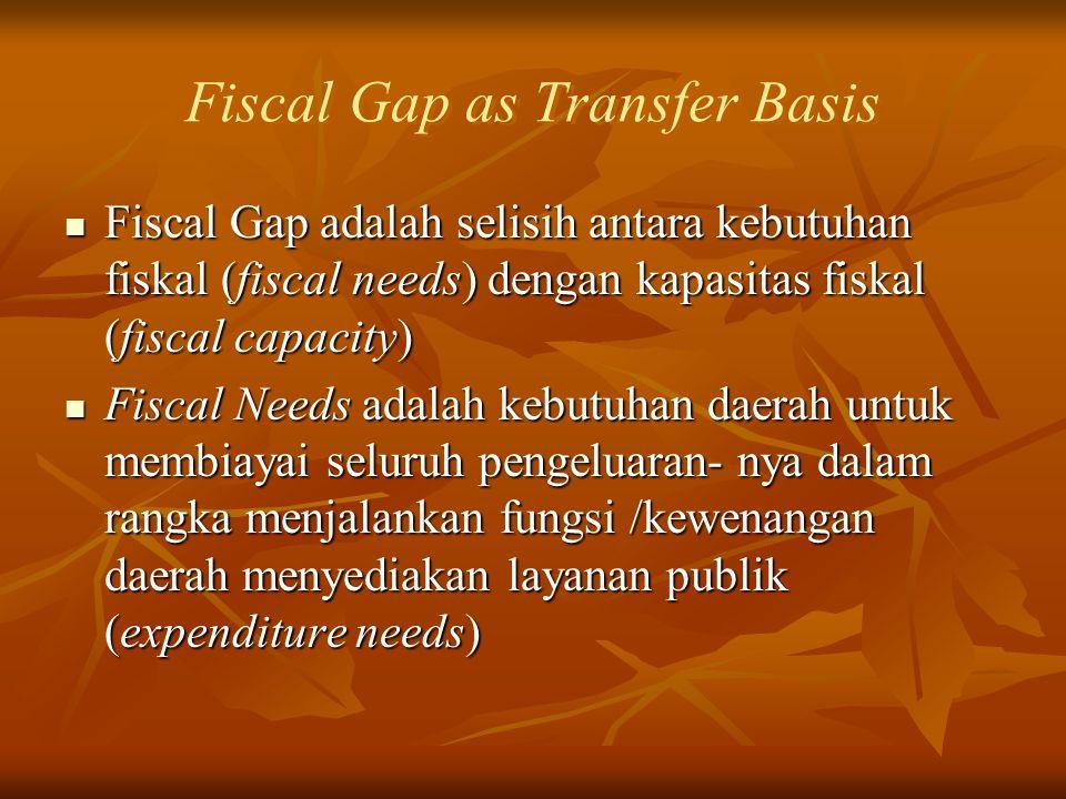 Fiscal Gap as Transfer Basis Fiscal Gap adalah selisih antara kebutuhan fiskal (fiscal needs) dengan kapasitas fiskal (fiscal capacity) Fiscal Gap ada