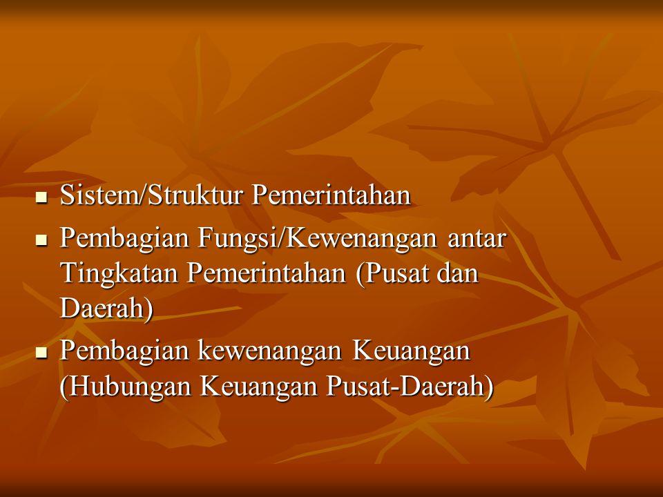 Sistem/Struktur Pemerintahan Sistem/Struktur Pemerintahan Pembagian Fungsi/Kewenangan antar Tingkatan Pemerintahan (Pusat dan Daerah) Pembagian Fungsi