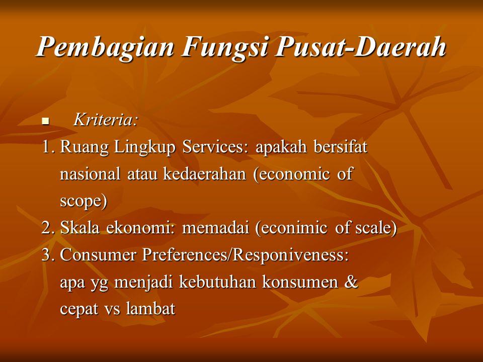 Pembagian Fungsi Pusat-Daerah Kriteria: Kriteria: 1. Ruang Lingkup Services: apakah bersifat nasional atau kedaerahan (economic of nasional atau kedae