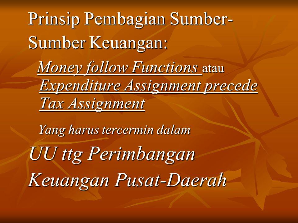 Prinsip Pembagian Sumber- Sumber Keuangan: Money follow Functions atau Expenditure Assignment precede Tax Assignment Money follow Functions atau Expen