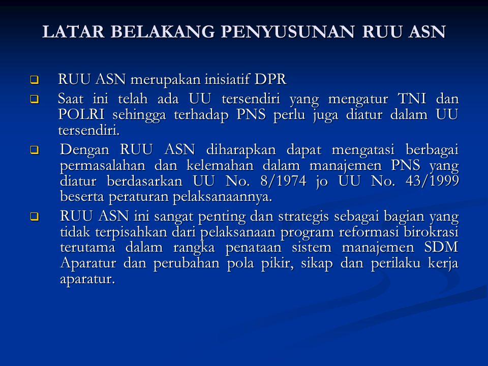 LATAR BELAKANG PENYUSUNAN RUU ASN  RUU ASN merupakan inisiatif DPR  Saat ini telah ada UU tersendiri yang mengatur TNI dan POLRI sehingga terhadap PNS perlu juga diatur dalam UU tersendiri.