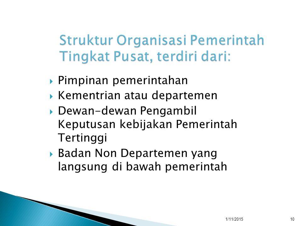  Pimpinan pemerintahan  Kementrian atau departemen  Dewan-dewan Pengambil Keputusan kebijakan Pemerintah Tertinggi  Badan Non Departemen yang langsung di bawah pemerintah 1/11/201510