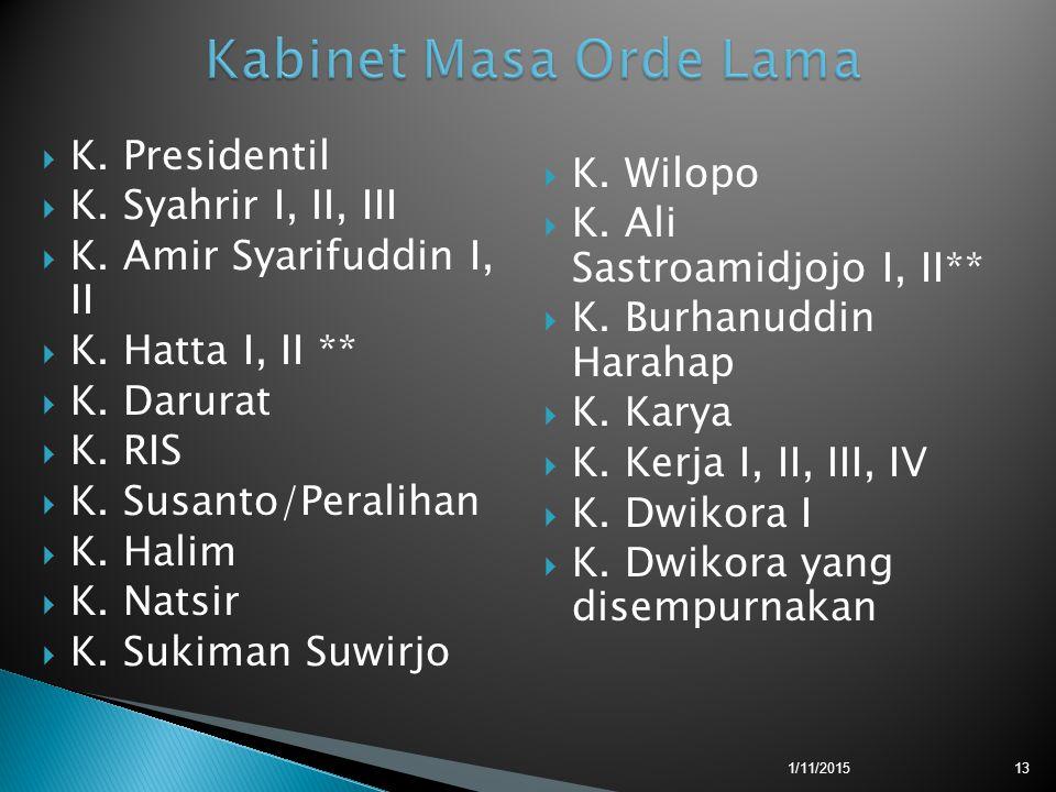  K. Presidentil  K. Syahrir I, II, III  K. Amir Syarifuddin I, II  K.