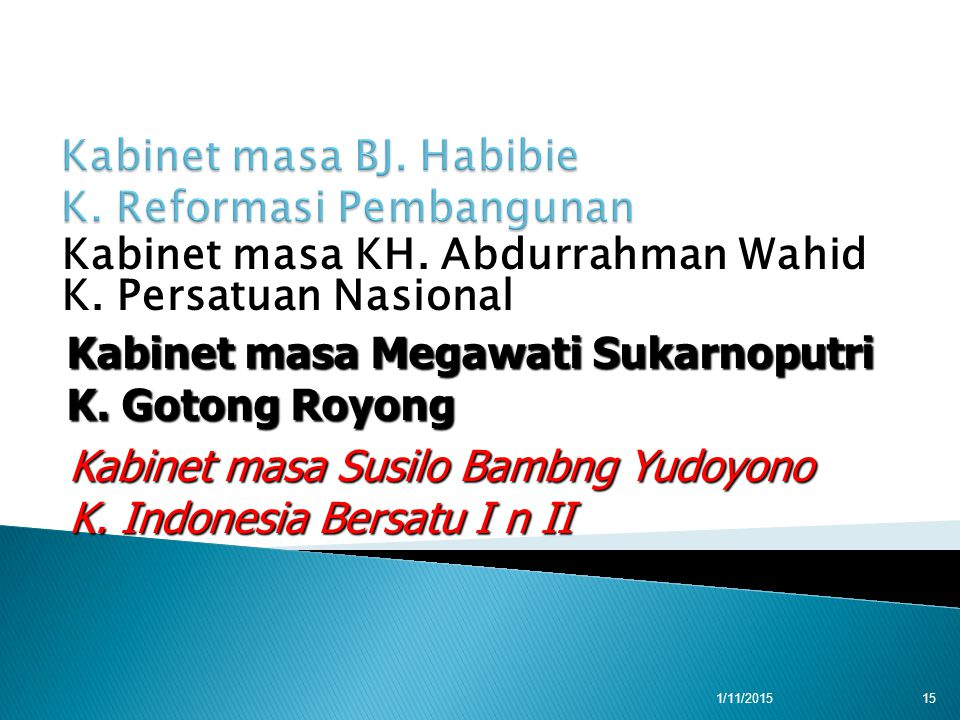 Kabinet masa KH. Abdurrahman Wahid K. Persatuan Nasional Kabinet masa Megawati Sukarnoputri K.
